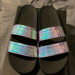 Pink double strap slides